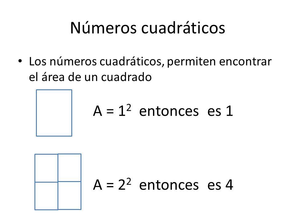 Números cuadráticos Los números cuadráticos, permiten encontrar el área de un cuadrado A = 2 2 entonces es 4 A = 1 2 entonces es 1