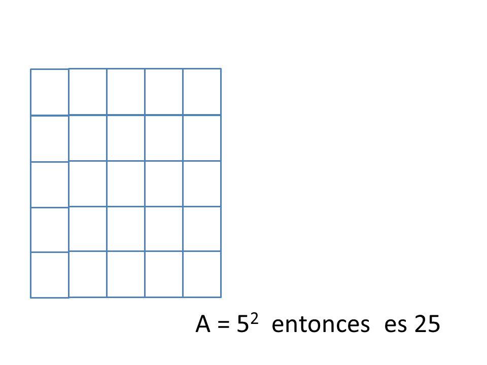 A = 5 2 entonces es 25