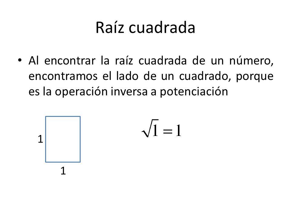 Raíz cuadrada Al encontrar la raíz cuadrada de un número, encontramos el lado de un cuadrado, porque es la operación inversa a potenciación 1 1