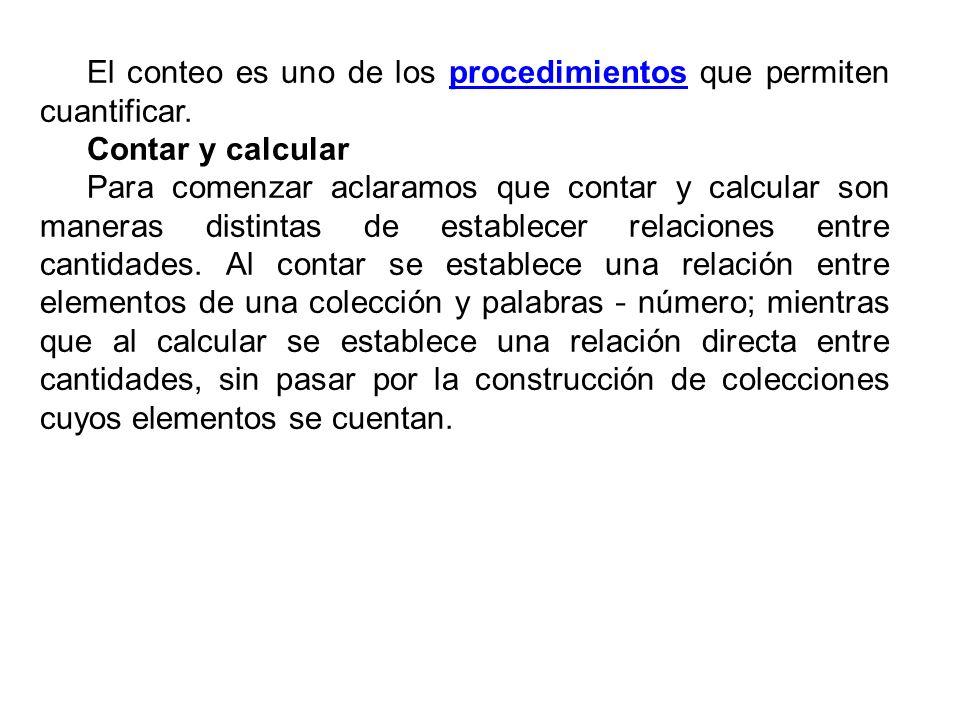 El conteo es uno de los procedimientos que permiten cuantificar.procedimientos Contar y calcular Para comenzar aclaramos que contar y calcular son man