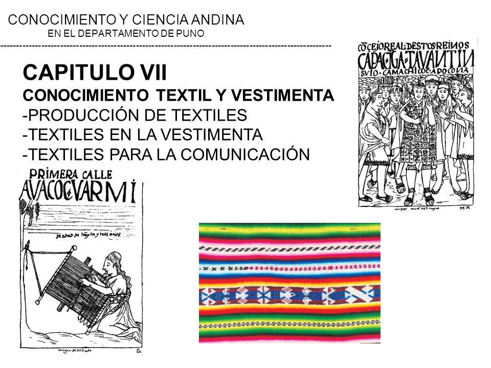 CAPITULO VII CONOCIMIENTO TEXTIL Y VESTIMENTA -PRODUCCIÓN DE TEXTILES -TEXTILES EN LA VESTIMENTA -TEXTILES PARA LA COMUNICACIÓN