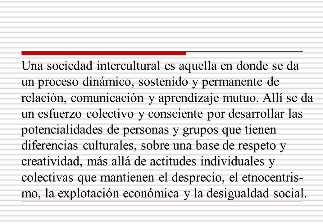 Una sociedad intercultural es aquella en donde se da un proceso dinámico, sostenido y permanente de relación, comunicación y aprendizaje mutuo. Allí s