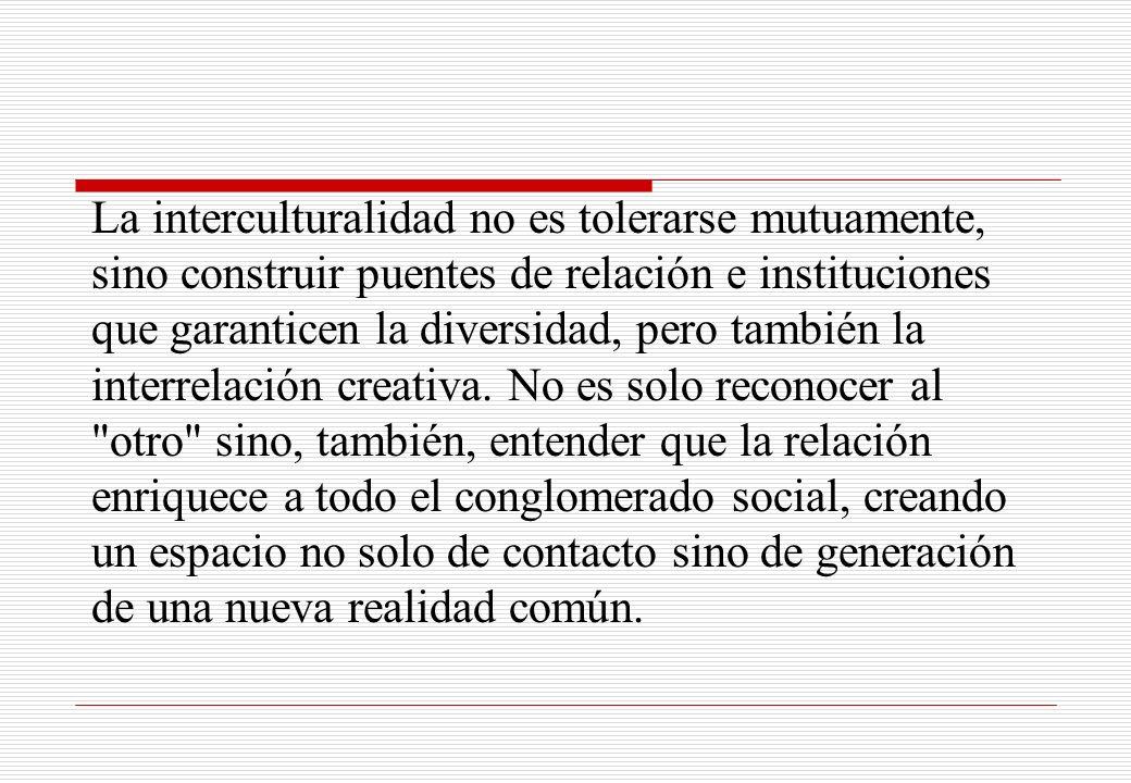 La interculturalidad no es tolerarse mutuamente, sino construir puentes de relación e instituciones que garanticen la diversidad, pero también la inte