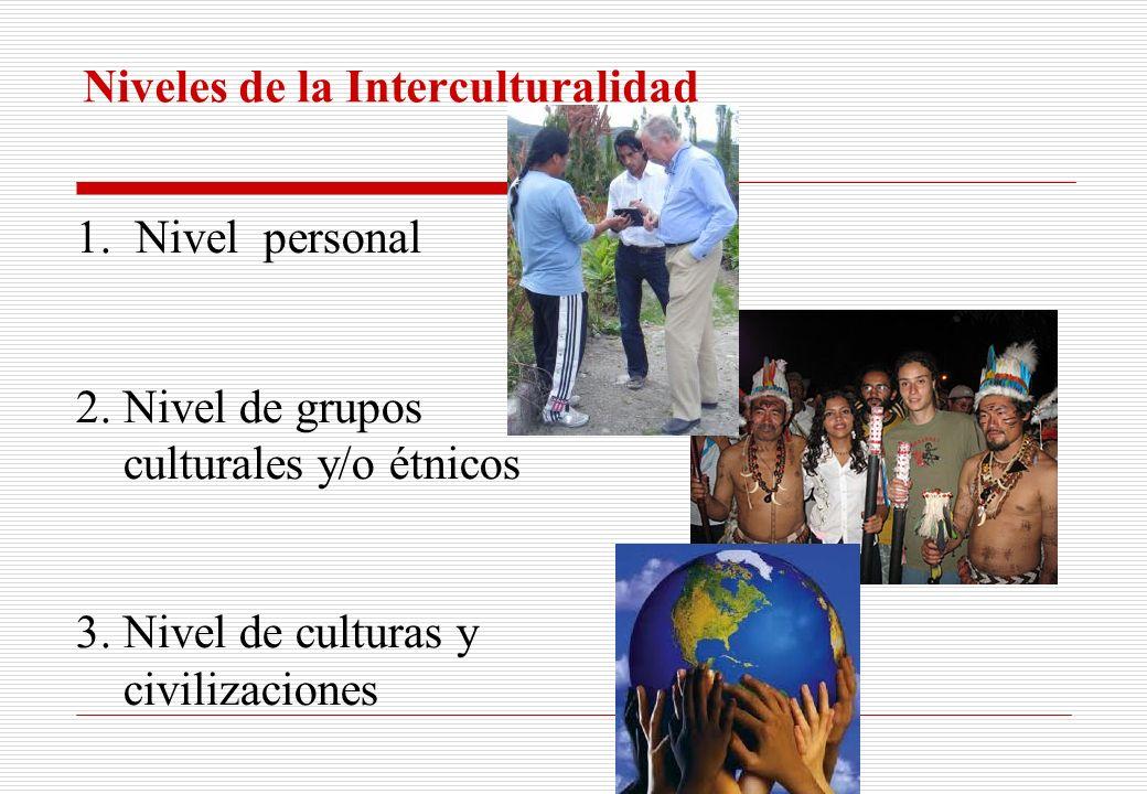Niveles de la Interculturalidad 1.Nivel personal 2. Nivel de grupos culturales y/o étnicos 3. Nivel de culturas y civilizaciones
