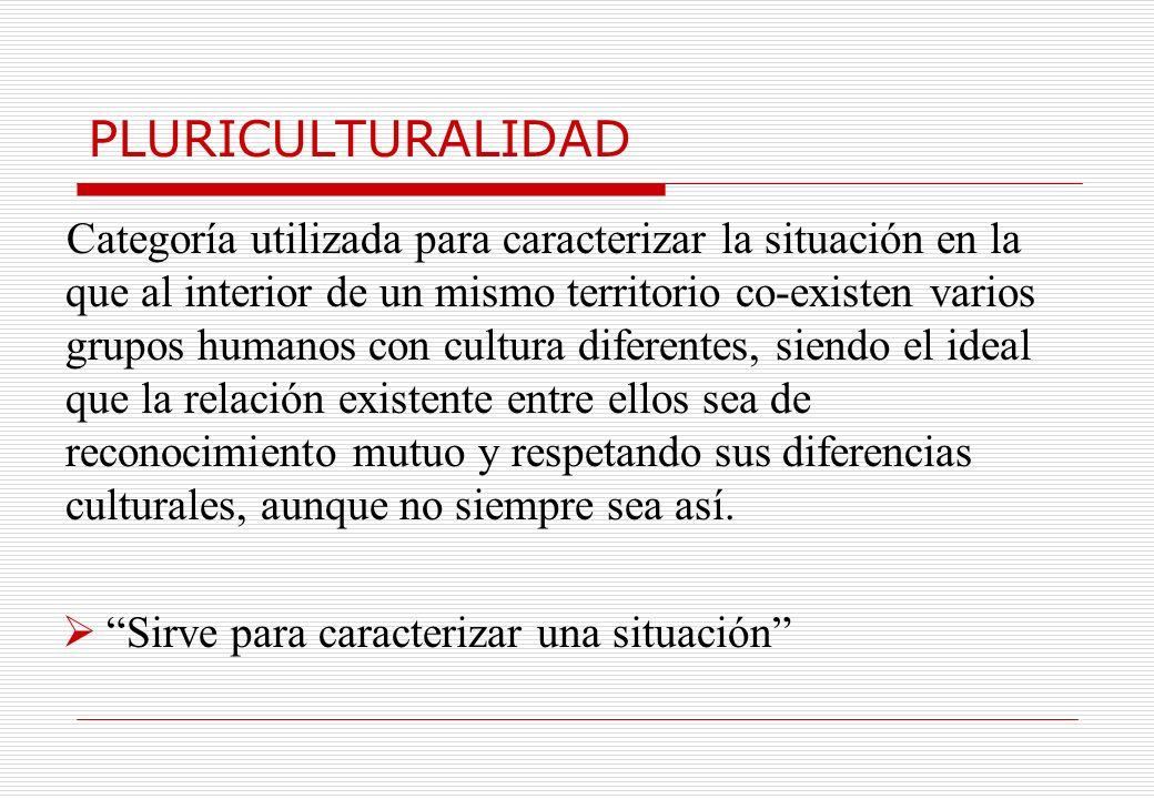 PLURICULTURALIDAD Categoría utilizada para caracterizar la situación en la que al interior de un mismo territorio co-existen varios grupos humanos con
