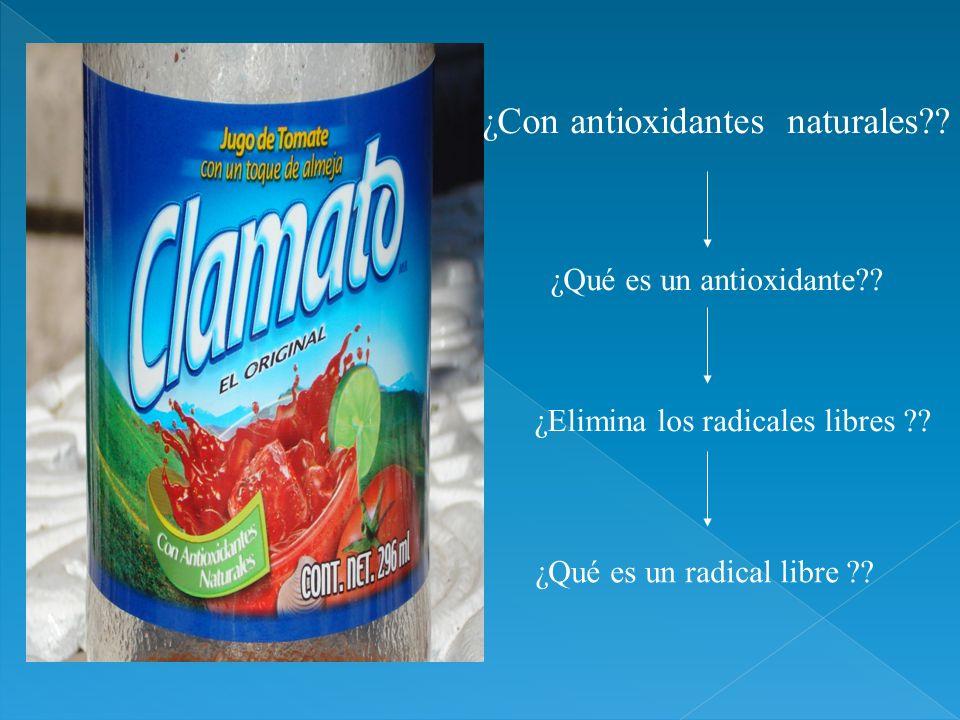¿Con antioxidantes naturales?? ¿Qué es un antioxidante?? ¿Elimina los radicales libres ?? ¿Qué es un radical libre ??