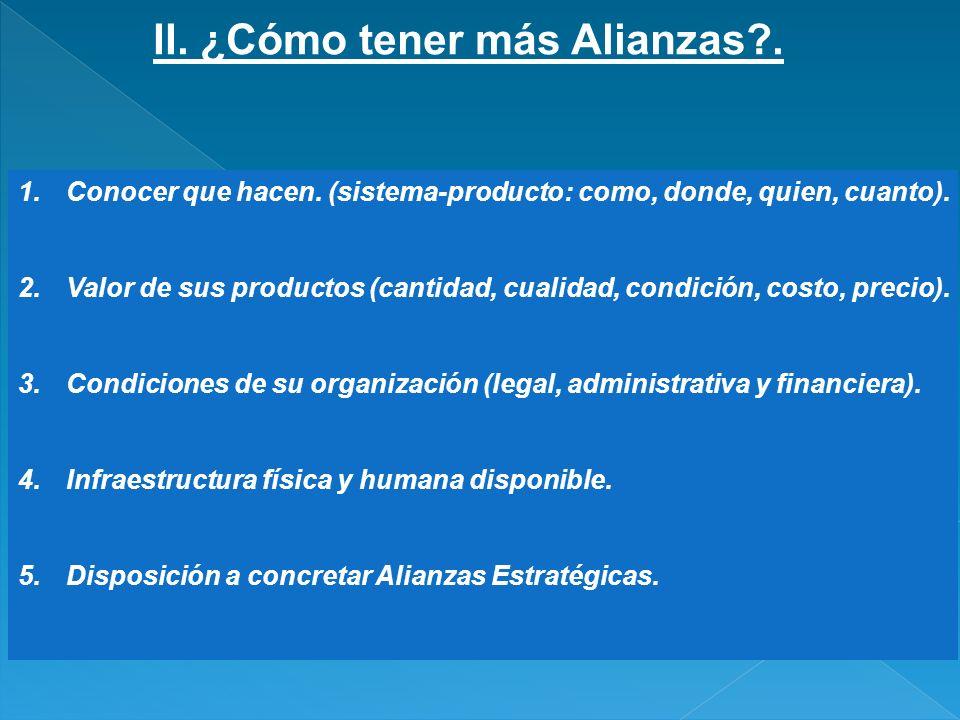 II. ¿Cómo tener más Alianzas?. 1.Conocer que hacen. (sistema-producto: como, donde, quien, cuanto). 2.Valor de sus productos (cantidad, cualidad, cond