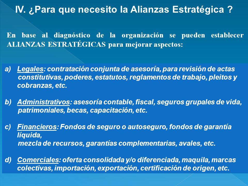 IV. ¿Para que necesito la Alianzas Estratégica ? a)Legales: contratación conjunta de asesoría, para revisión de actas constitutivas, poderes, estatuto