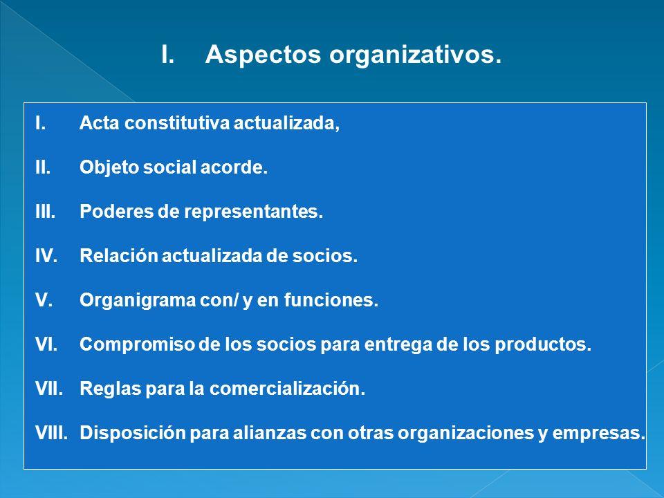 I.Aspectos organizativos. I.Acta constitutiva actualizada, II.Objeto social acorde. III.Poderes de representantes. IV.Relación actualizada de socios.