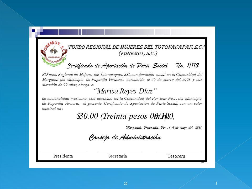 20 1 12 FONDO REGIONAL DE MUJERES DEL TOTONACAPAN, S.C. (FOREMUT, S.C.) Certificado de Aportación de Parte Social No. 1/112 ElFondoRegionaldeMujeresde