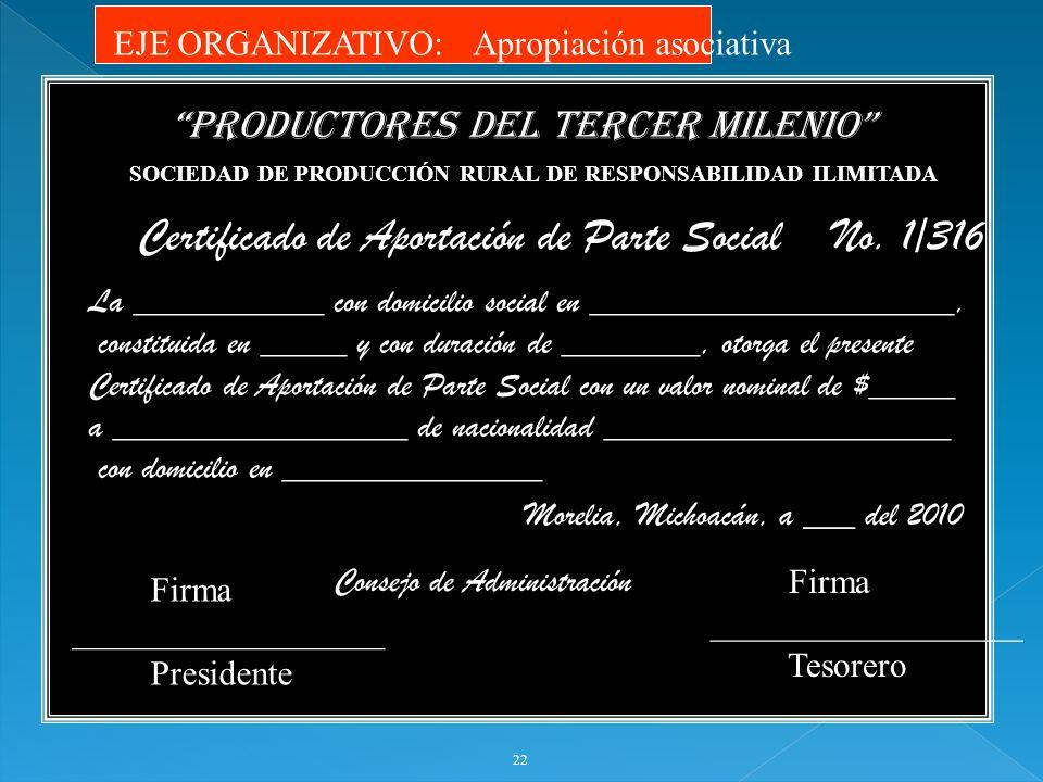 22 SOCIEDAD DE PRODUCCIÓN RURAL DE RESPONSABILIDAD ILIMITADA PRODUCTORES DEL TERCER MILENIO Certificado de Aportación de Parte Social No. 1/316 La ___