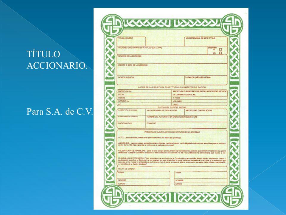 24 1 TÍTULO ACCIONARIO. Para S.A. de C.V.