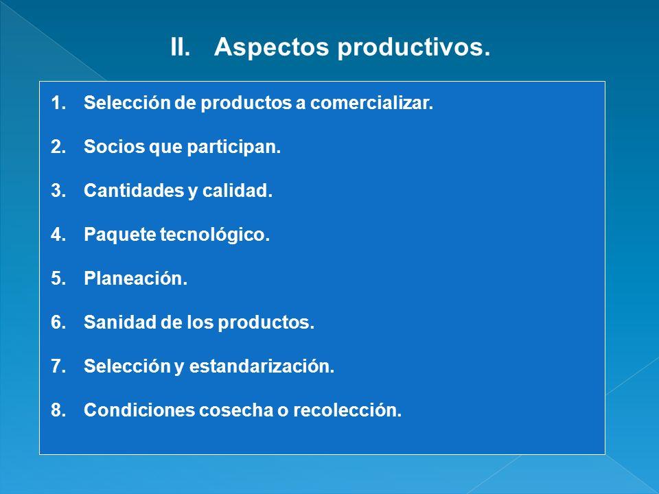 II.Aspectos productivos. 1.Selección de productos a comercializar. 2.Socios que participan. 3.Cantidades y calidad. 4.Paquete tecnológico. 5.Planeació