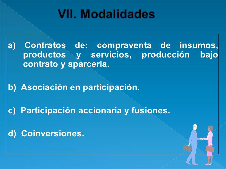 a) Contratos de: compraventa de insumos, productos y servicios, producción bajo contrato y aparceria. b) Asociación en participación. c) Participación