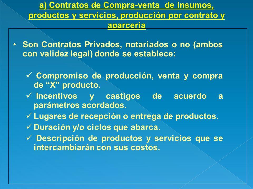 a) Contratos de Compra-venta de insumos, productos y servicios, producción por contrato y aparceria Son Contratos Privados, notariados o no (ambos con
