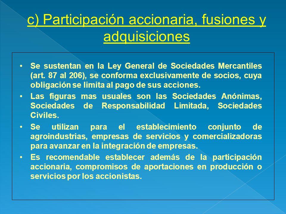 c) Participación accionaria, fusiones y adquisiciones Se sustentan en la Ley General de Sociedades Mercantiles (art. 87 al 206), se conforma exclusiva