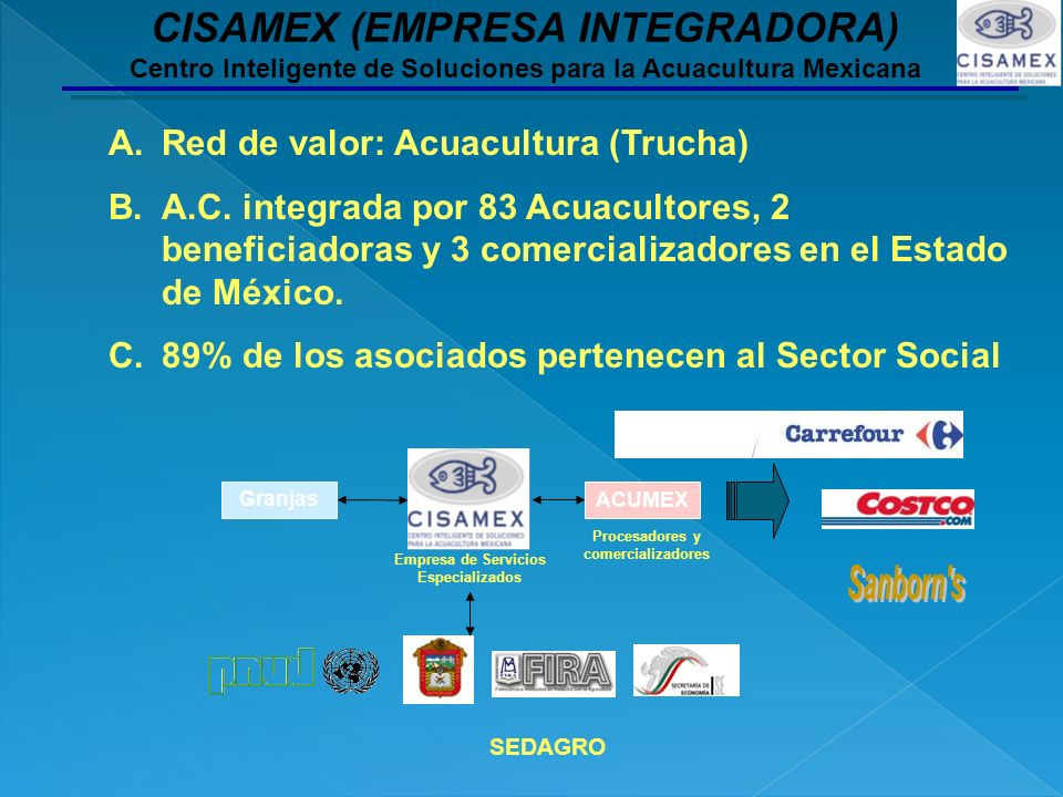 A.Red de valor: Acuacultura (Trucha) B.A.C. integrada por 83 Acuacultores, 2 beneficiadoras y 3 comercializadores en el Estado de México. C.89% de los