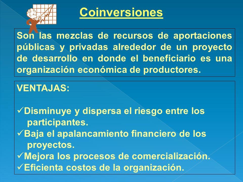 Coinversiones Son las mezclas de recursos de aportaciones públicas y privadas alrededor de un proyecto de desarrollo en donde el beneficiario es una o