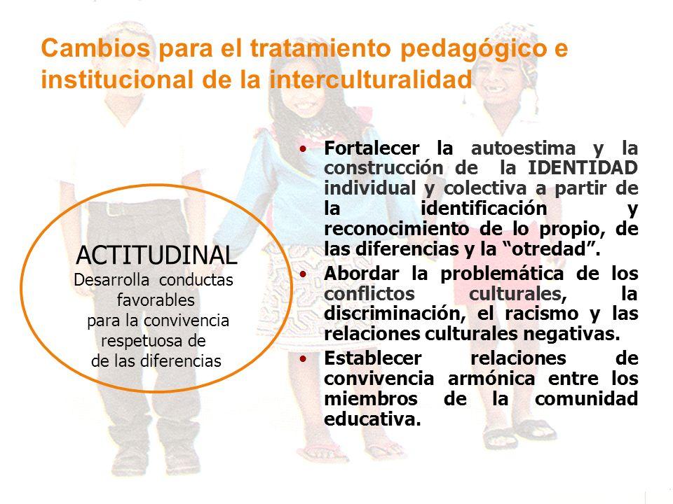 Cambios para el tratamiento pedagógico e institucional de la interculturalidad ACTITUDINAL Desarrolla conductas favorables para la convivencia respetu