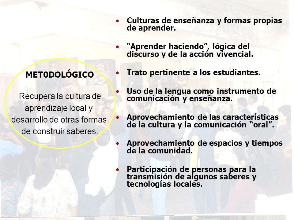 MET0DOLÓGICO Recupera la cultura de aprendizaje local y desarrollo de otras formas de construir saberes. Culturas de enseñanza y formas propias de apr