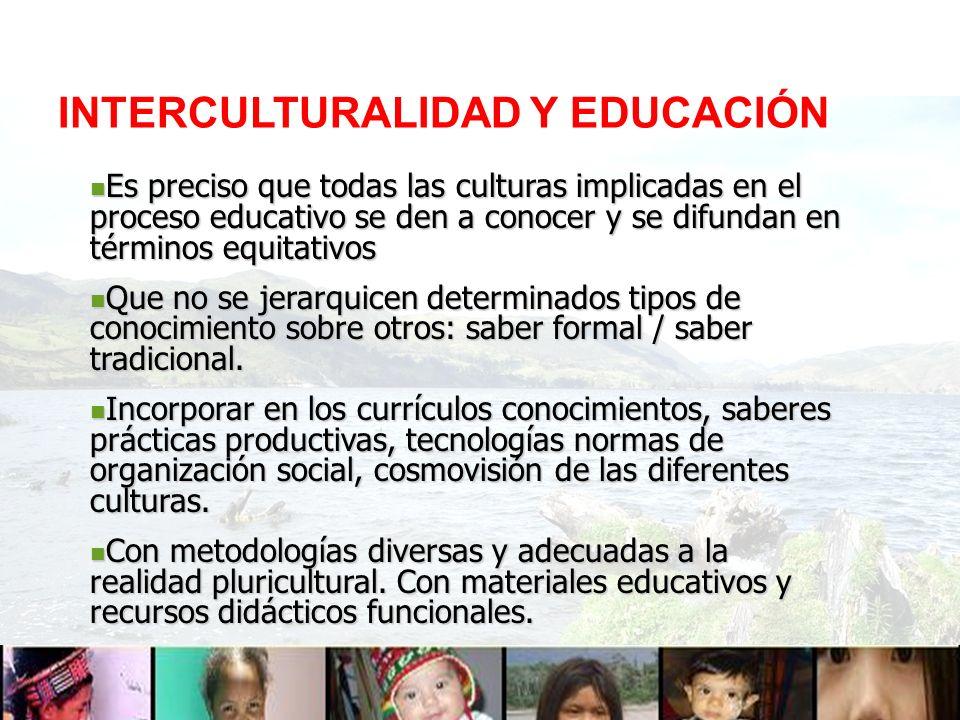 INTERCULTURALIDAD Y EDUCACIÓN Es preciso que todas las culturas implicadas en el proceso educativo se den a conocer y se difundan en términos equitati