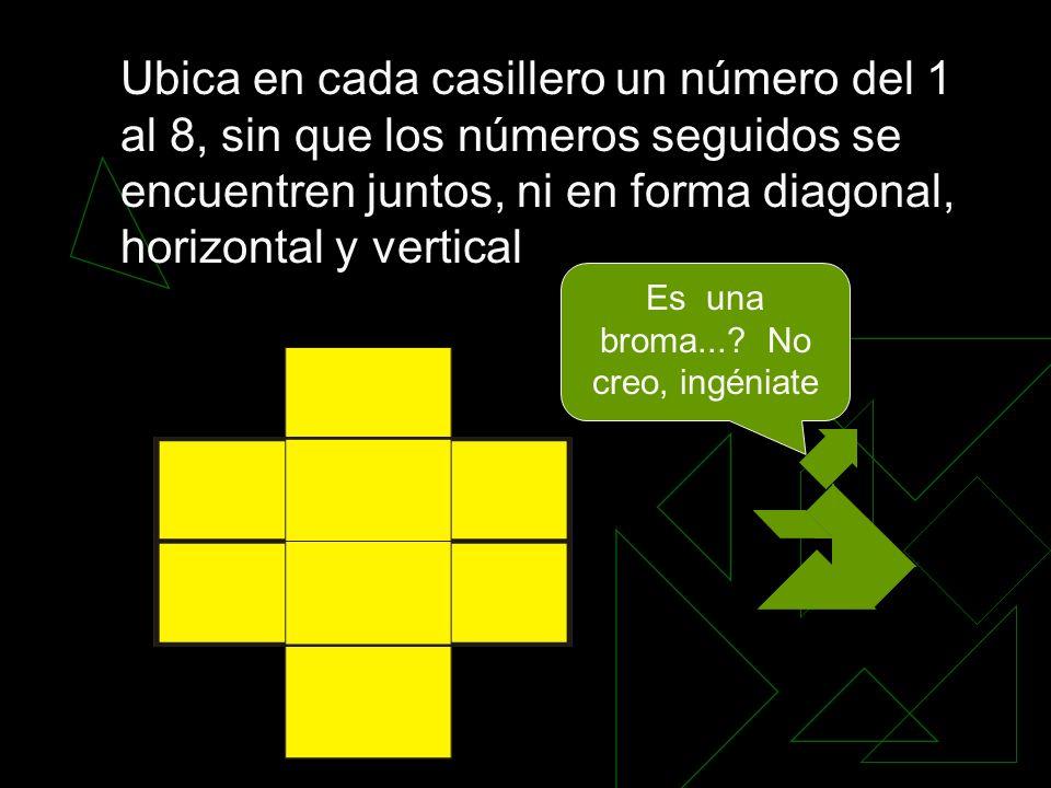 Ubica en cada casillero un número del 1 al 8, sin que los números seguidos se encuentren juntos, ni en forma diagonal, horizontal y vertical Es una broma....