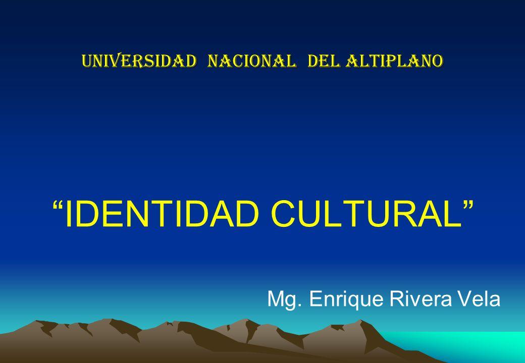 UNIVERSIDAD NACIONAL DEL ALTIPLANO IDENTIDAD CULTURAL Mg. Enrique Rivera Vela