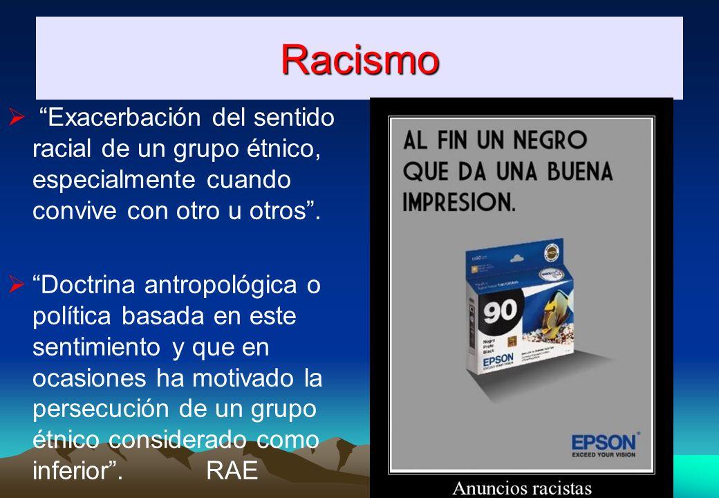 Racismo Exacerbación del sentido racial de un grupo étnico, especialmente cuando convive con otro u otros.