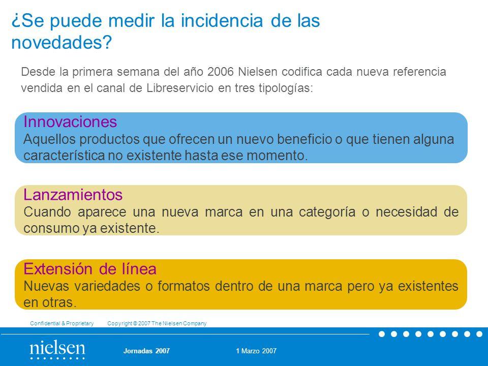 1 Marzo 2007 Confidential & Proprietary Copyright © 2007 The Nielsen Company Jornadas 2007 ¿ Se puede medir la incidencia de las novedades? Desde la p