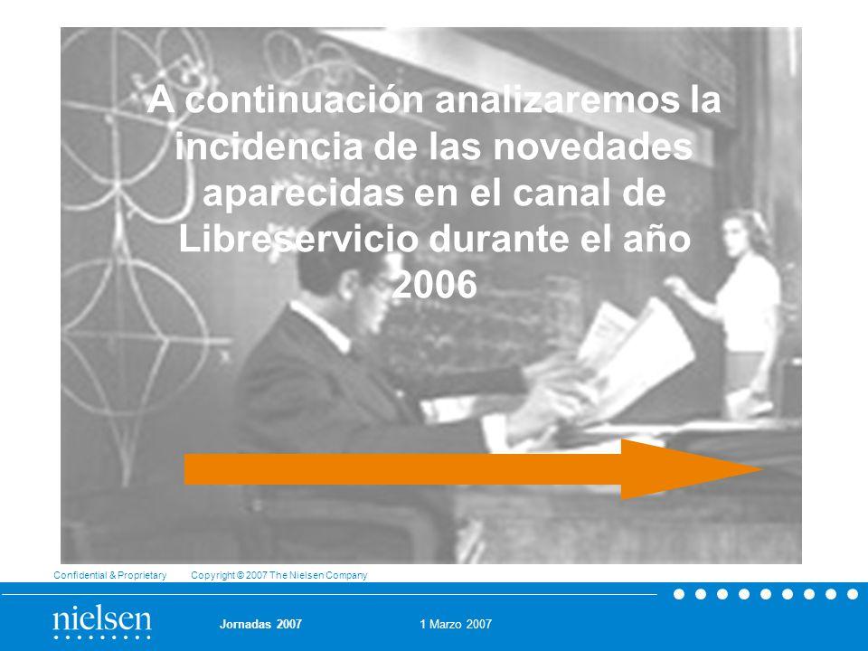 1 Marzo 2007 Confidential & Proprietary Copyright © 2007 The Nielsen Company Jornadas 2007 A continuación analizaremos la incidencia de las novedades