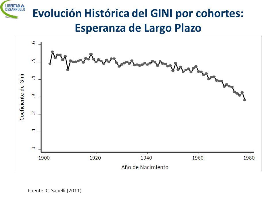 Evolución Histórica del GINI por cohortes: Esperanza de Largo Plazo Fuente: C. Sapelli (2011)