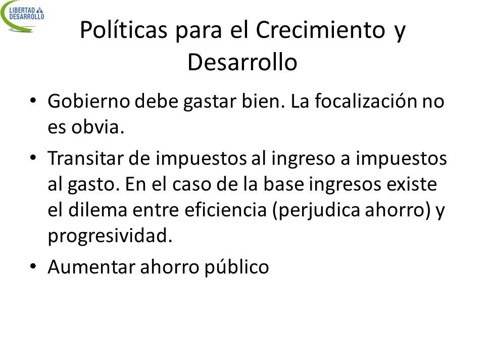 Políticas para el Crecimiento y Desarrollo Gobierno debe gastar bien. La focalización no es obvia. Transitar de impuestos al ingreso a impuestos al ga