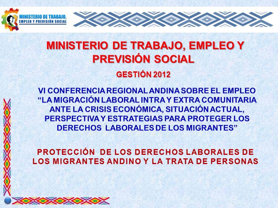 MINISTERIO DE TRABAJO, EMPLEO Y PREVISIÓN SOCIAL MINISTERIO DE TRABAJO, EMPLEO Y PREVISIÓN SOCIAL GESTIÓN 2012 PROTECCIÓN DE LOS DERECHOS LABORALES DE LOS MIGRANTES ANDINO Y LA TRATA DE PERSONAS