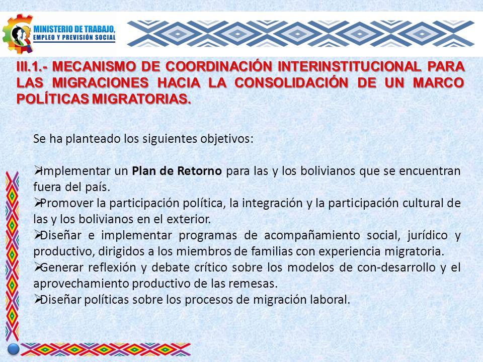 Se ha planteado los siguientes objetivos: Implementar un Plan de Retorno para las y los bolivianos que se encuentran fuera del país.