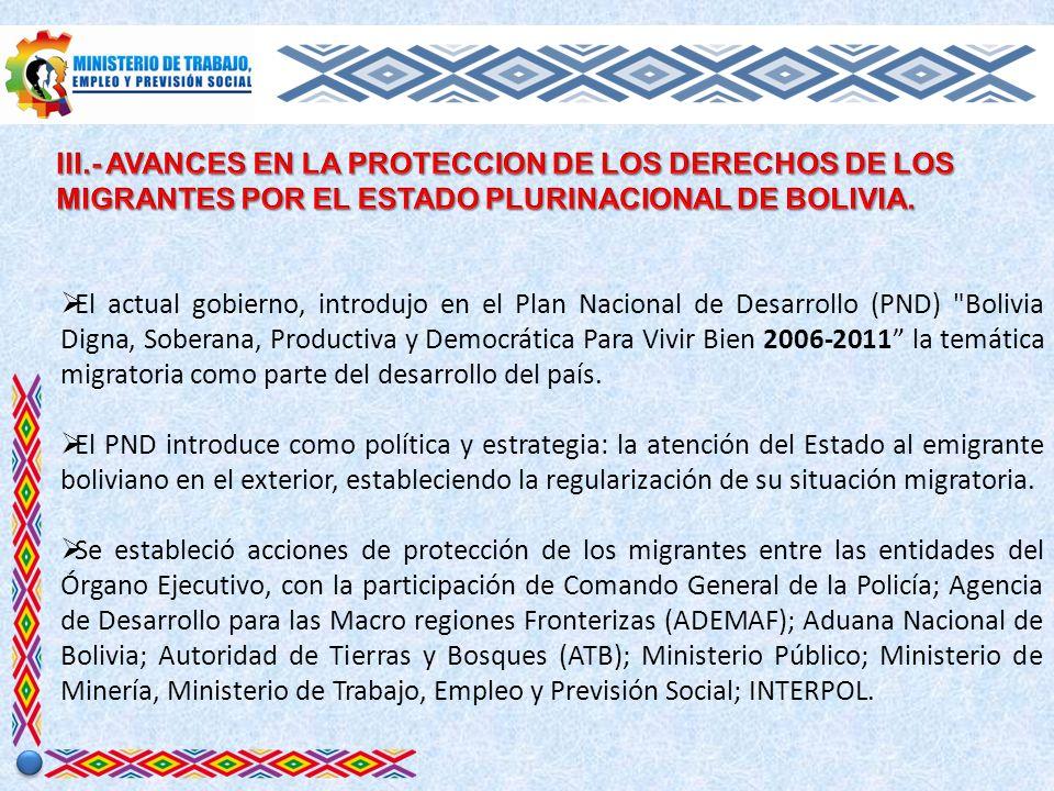 Representantes del Órgano Ejecutivo, del Órgano Legislativo, Órgano Judicial, Corte Nacional Electoral, Defensoría del Pueblo, Organismos Internacionales y representantes de la sociedad civil firmaron el Acuerdo Nacional por el Boliviano en el Exterior para proteger y garantizar el respeto de los derechos humanos de las personas migrantes.