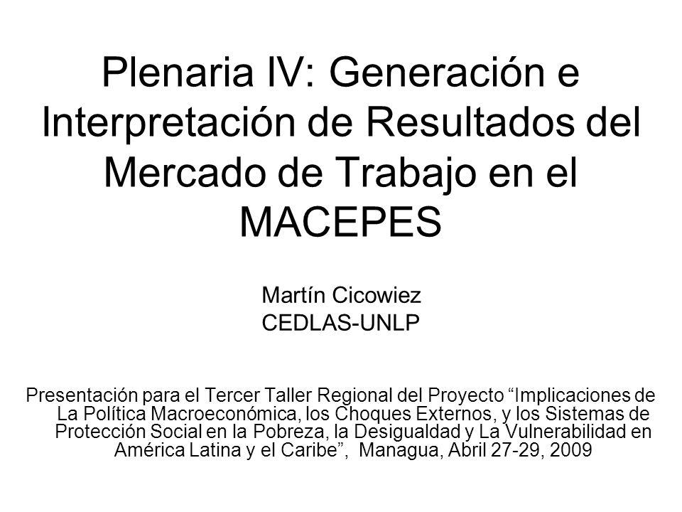 Plenaria IV: Generación e Interpretación de Resultados del Mercado de Trabajo en el MACEPES Martín Cicowiez CEDLAS-UNLP Presentación para el Tercer Taller Regional del Proyecto Implicaciones de La Política Macroeconómica, los Choques Externos, y los Sistemas de Protección Social en la Pobreza, la Desigualdad y La Vulnerabilidad en América Latina y el Caribe, Managua, Abril 27-29, 2009