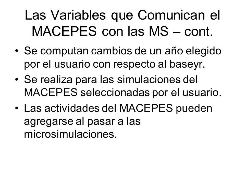 Las Variables que Comunican el MACEPES con las MS – cont.