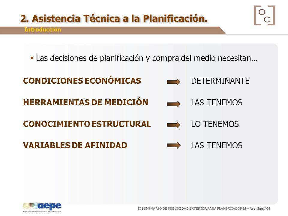 II SEMINARIO DE PUBLICIDAD EXTERIOR PARA PLANIFICADORES – Aranjuez 08 2. Asistencia Técnica a la Planificación. Las decisiones de planificación y comp