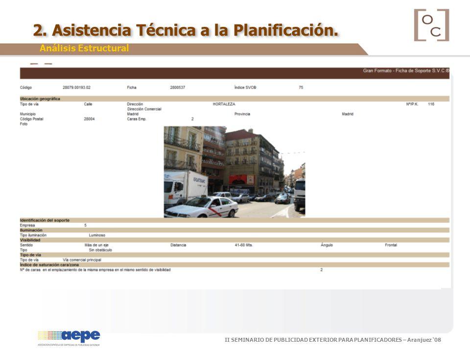 II SEMINARIO DE PUBLICIDAD EXTERIOR PARA PLANIFICADORES – Aranjuez 08 Análisis Estructural 2. Asistencia Técnica a la Planificación.