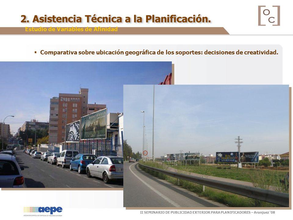 II SEMINARIO DE PUBLICIDAD EXTERIOR PARA PLANIFICADORES – Aranjuez 08 Estudio de Variables de Afinidad Comparativa sobre ubicación geográfica de los s
