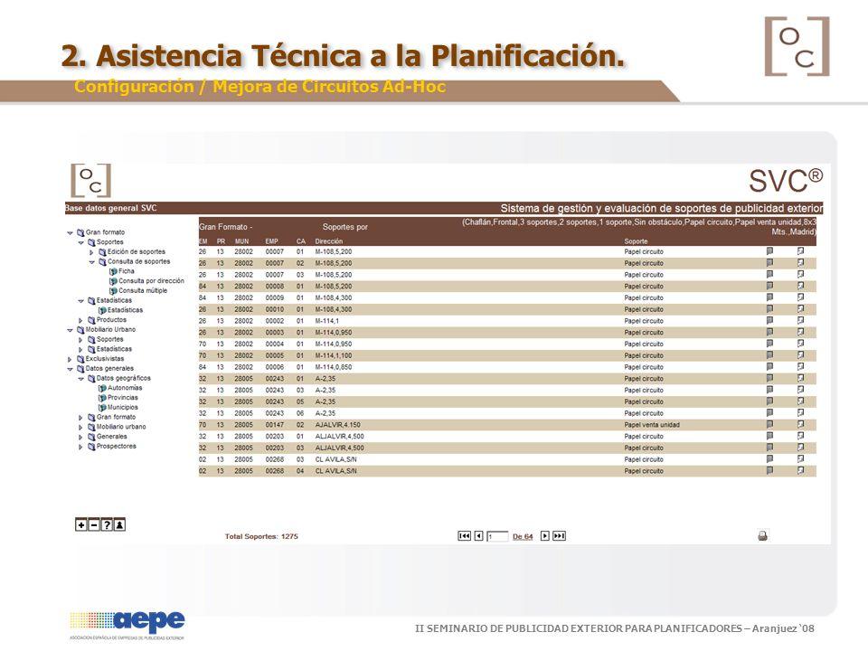 II SEMINARIO DE PUBLICIDAD EXTERIOR PARA PLANIFICADORES – Aranjuez 08 2. Asistencia Técnica a la Planificación. Configuración / Mejora de Circuitos Ad