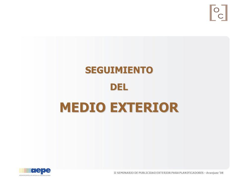 II SEMINARIO DE PUBLICIDAD EXTERIOR PARA PLANIFICADORES – Aranjuez 08 SEGUIMIENTODEL MEDIO EXTERIOR