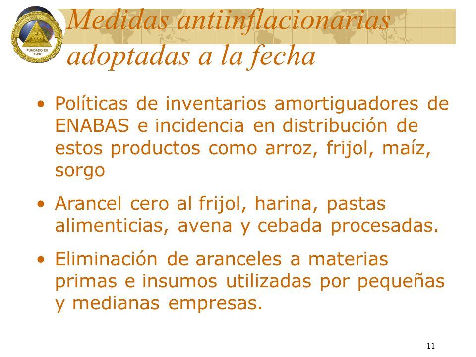 11 Medidas antiinflacionarias adoptadas a la fecha Políticas de inventarios amortiguadores de ENABAS e incidencia en distribución de estos productos c
