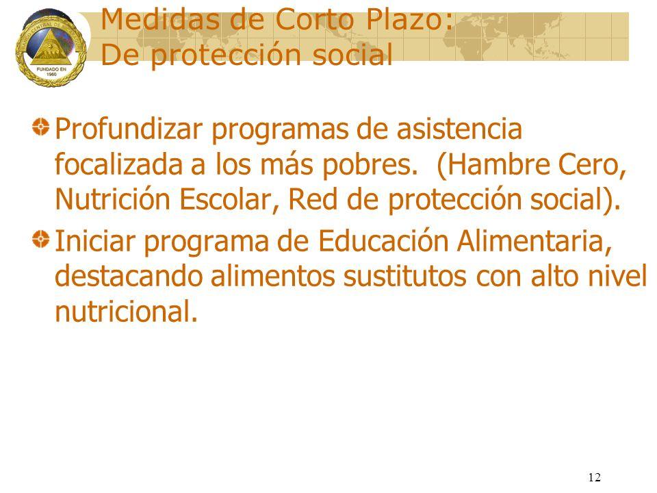 12 Medidas de Corto Plazo: De protección social Profundizar programas de asistencia focalizada a los más pobres. (Hambre Cero, Nutrición Escolar, Red