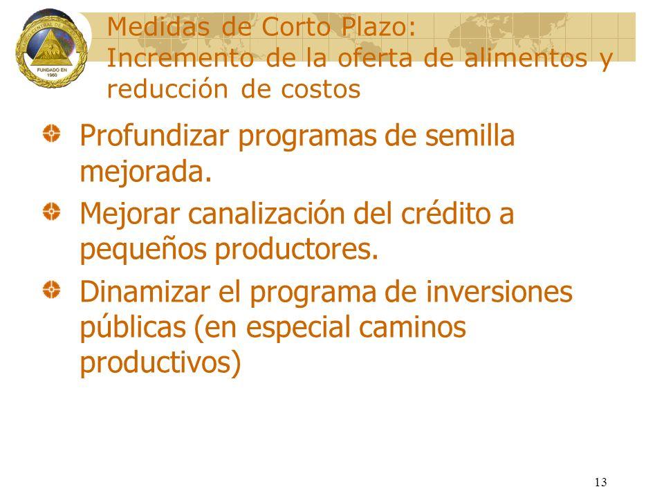 13 Medidas de Corto Plazo: Incremento de la oferta de alimentos y reducción de costos Profundizar programas de semilla mejorada. Mejorar canalización