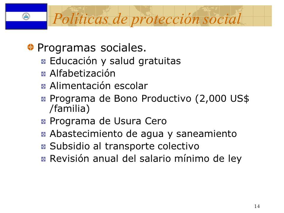 14 Políticas de protección social Programas sociales. Educación y salud gratuitas Alfabetización Alimentación escolar Programa de Bono Productivo (2,0