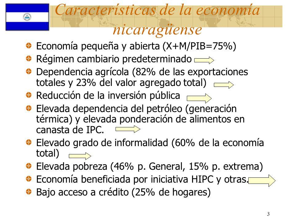 3 Características de la economía nicaragüense Economía pequeña y abierta (X+M/PIB=75%) Régimen cambiario predeterminado Dependencia agrícola (82% de l