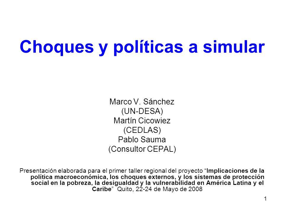 1 Choques y políticas a simular Marco V.