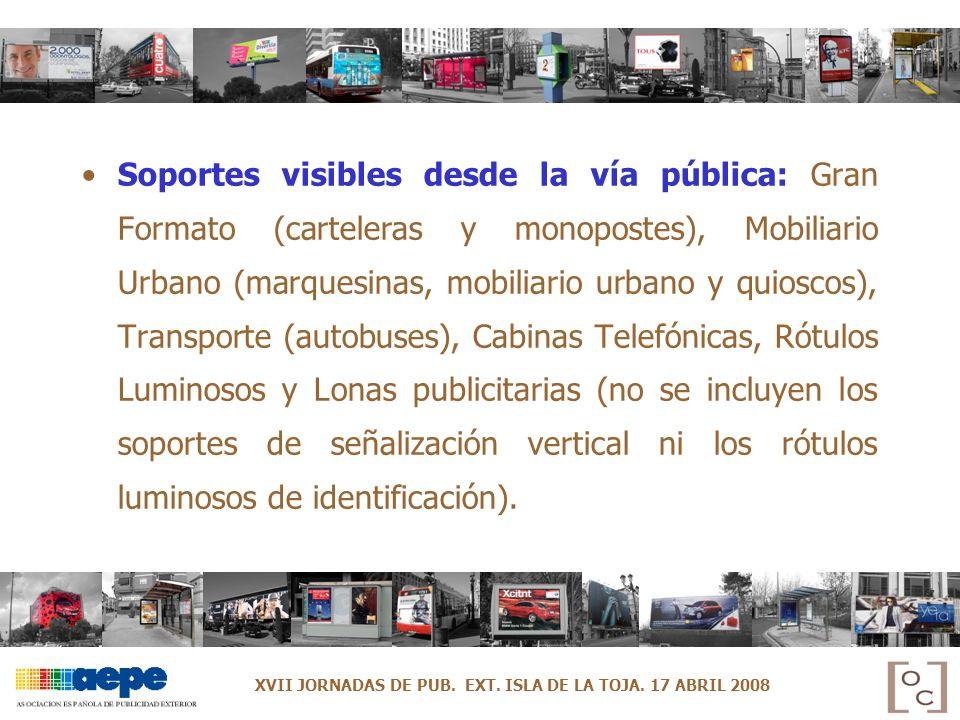 Soportes visibles desde la vía pública: Gran Formato (carteleras y monopostes), Mobiliario Urbano (marquesinas, mobiliario urbano y quioscos), Transpo