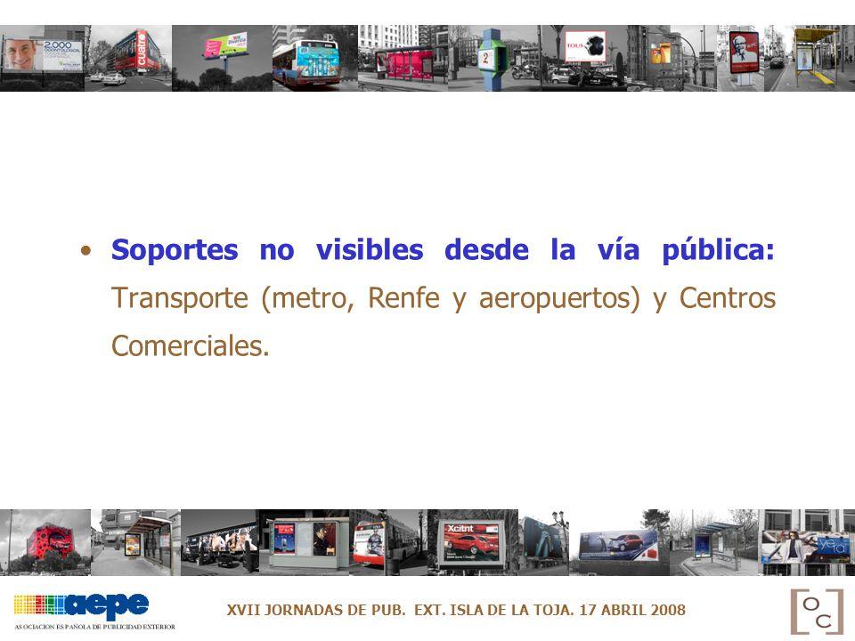 Soportes no visibles desde la vía pública: Transporte (metro, Renfe y aeropuertos) y Centros Comerciales. XVII JORNADAS DE PUB. EXT. ISLA DE LA TOJA.